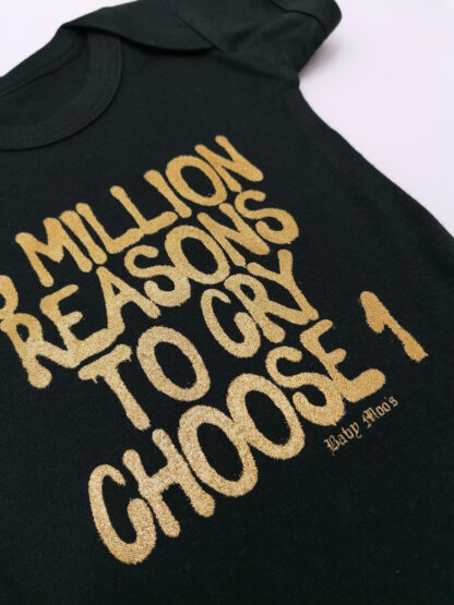 6 Millions To Cry Funny Baby Vest Grow Bodysuit Close up