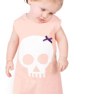 Alternative Baby Dress - Skull & Bow Peach Girls Dress
