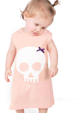 Alternative Baby Dress - Skull & Bow Peach Girls Dress