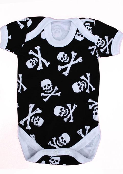 Alternative Baby Grow - Skull & Crossbones Baby Vest UK