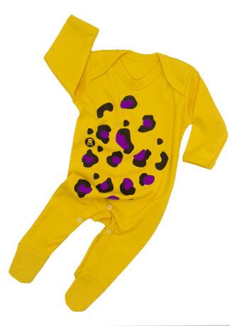 Animal Print Baby Sleepsuit Outfit Boy Girl Yellow Purple