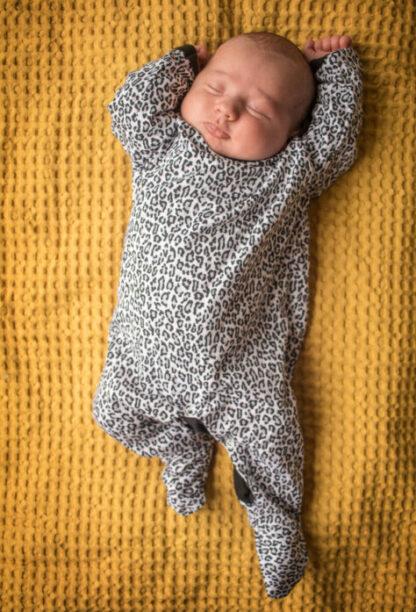 Alexandra Leopard Print Baby Sleepsuit