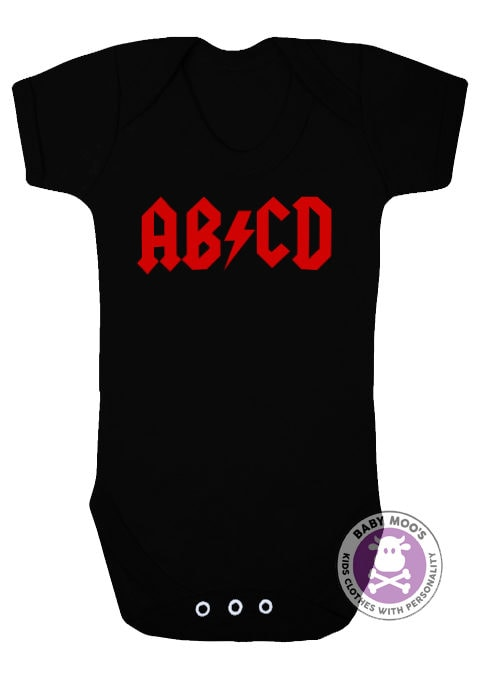 Rock Band ACDC ABCD Baby Grow Bodysuit Black