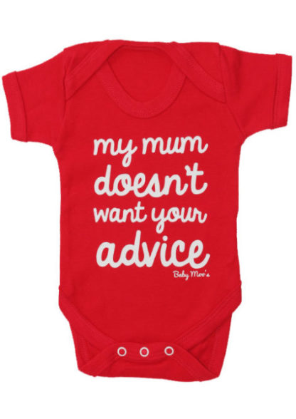 Funny Baby Grow, Red short sleeved baby bodysuit with cheeky print : Baby Moo's Funny Baby Clothes & Gifts