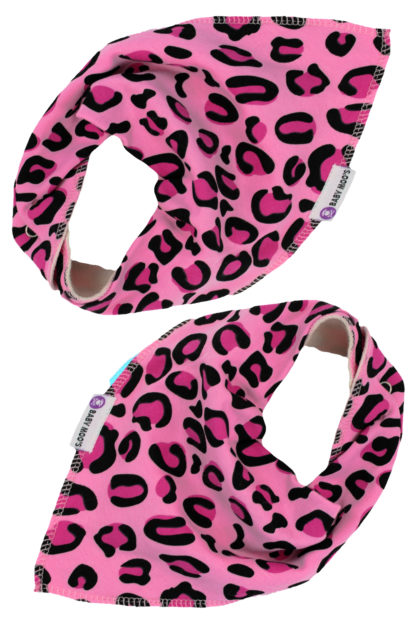 Quirky Leopard Print Baby Bandana Bibs Dribble Bibs Pink