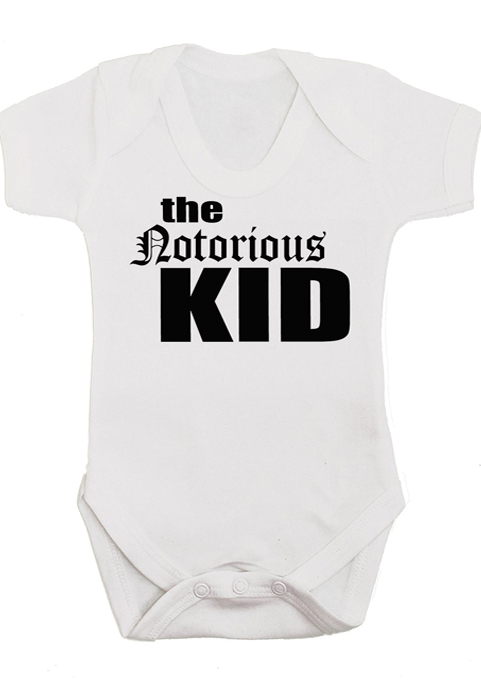 The Notorious KID baby grow vest monochrome