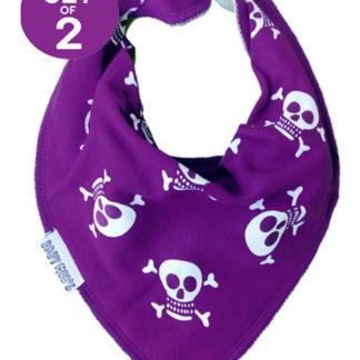 Purple Dribble Bibs - Set of 2 Jolly Roger Skull & Crossbones