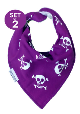 Purple Dribble Bibs - Set of 2 Jolly Roger Skull & Crossbones