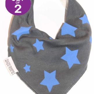 Quirky Bandana Bibs Set of 2 Grey & Blue Star Print Baby Bibs