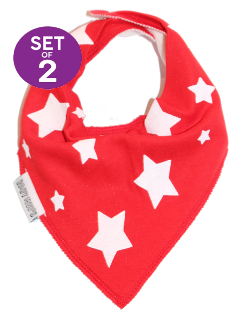 Red Colourful Dribble Bibs - Baby Bib Gift Set