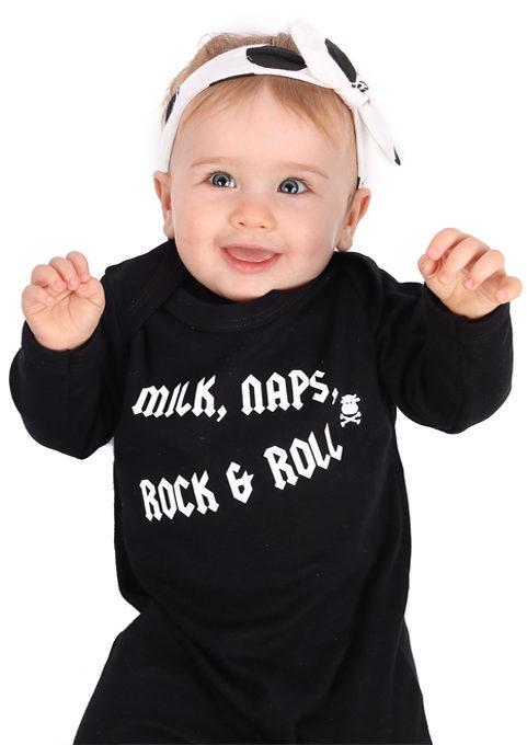 Rock N Roll Baby Sleepsuit, Black Baby Rocker Clothes