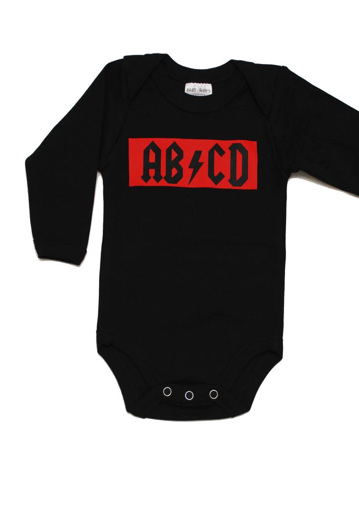 cool ab cd rock baby grow long sleeve baby bodysuit. Black Bedroom Furniture Sets. Home Design Ideas
