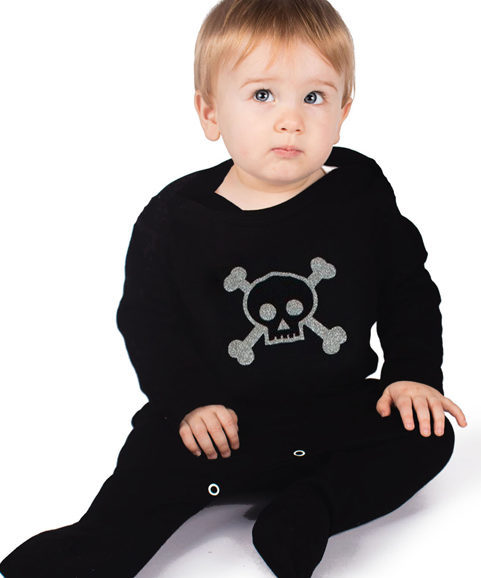 Skull & Crossbones Baby Sleepsuit - Black Alternative Baby Outfit