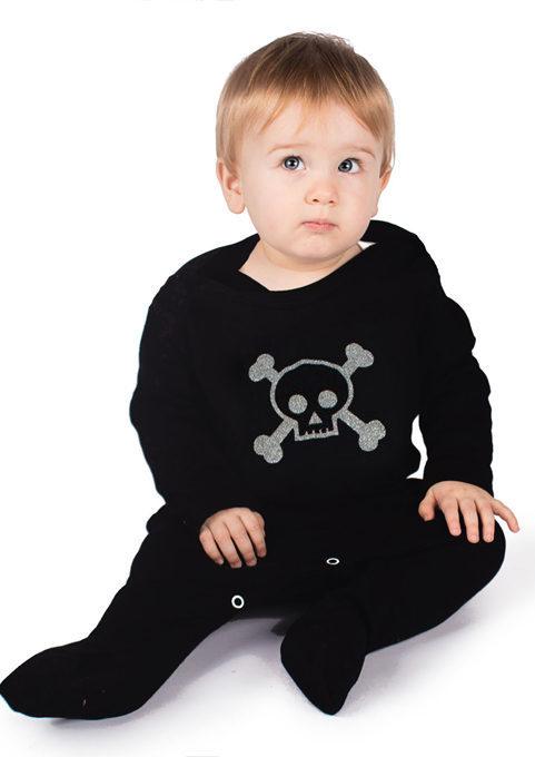 Skull & Crossbones Baby Sleepsuit - Black Alternative Baby Outfit