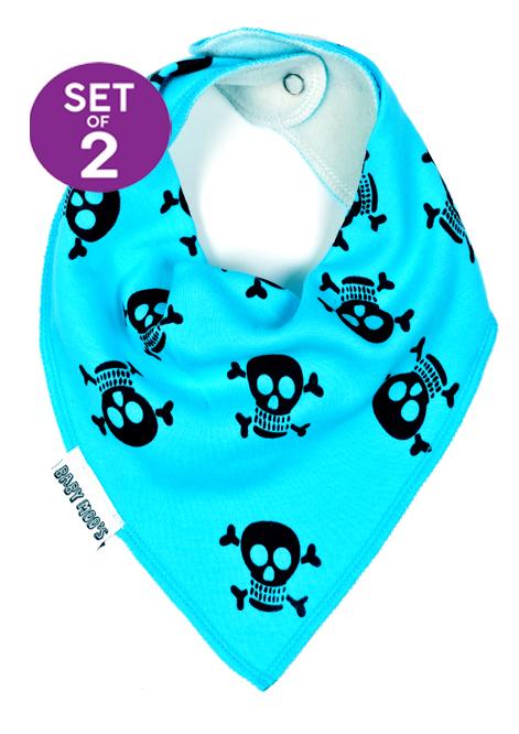 Funky Baby Bibs Skull & crossbones dribble bibs, Bright baby blue bandana bib set