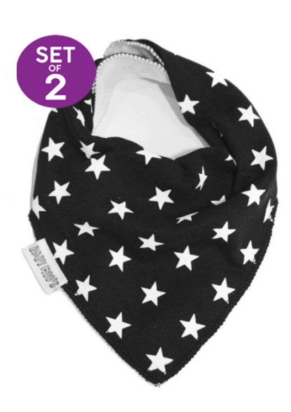 Trendy Baby Bibs Set of 2 Twinkle Monochrome Star Print