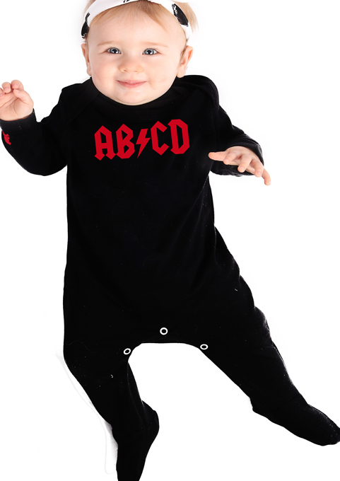 AC/DC AB/CD Rock n Roll Baby Sleepsuit Red & Black