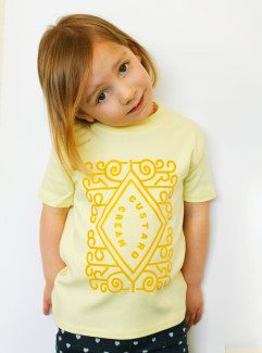 Cute Kids Top, Fun yellow kids top with custard cream printed design