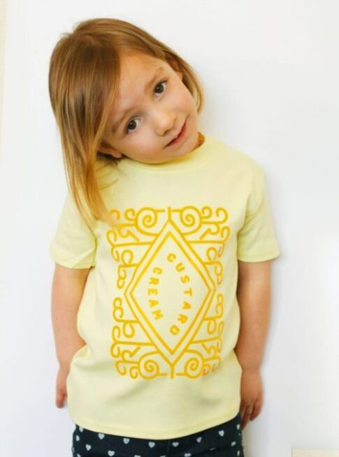 Cute Kids Top, Fun yellow kids top with custard cream printed design