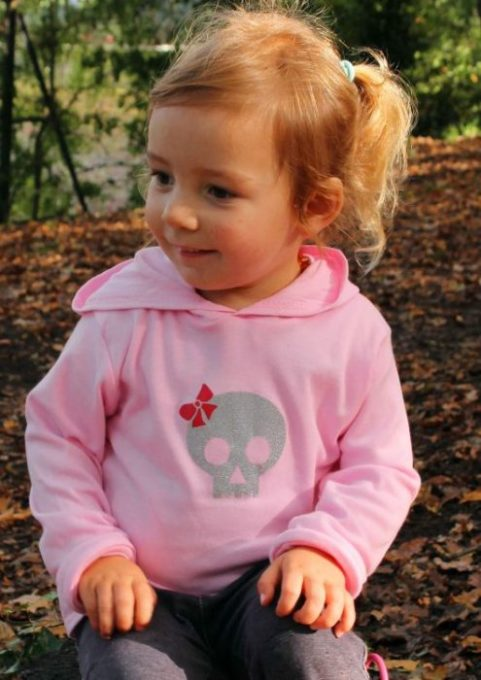 Baby Girl Punk Skull Clothes, Kids Hoodie with cute glitter skull print & funky red bow