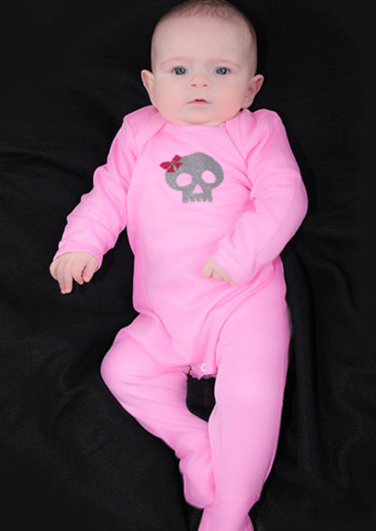 Baby Girl Skull Clothes, Pink Cool Baby Sleepsuit with glittery skull & bow print