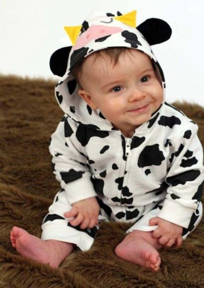 Cow Baby Romper/ Onesie, Cow Print Hooded Baby Outfit With Ears