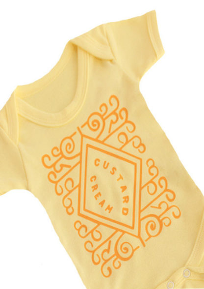 Cute Baby Grow with novelty & fun custard cream biscuit print