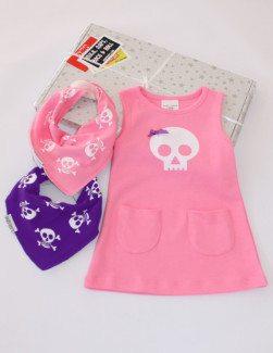 Baby Girls Gift Box, includes skull baby girls dress & 2 girls dribble bibs