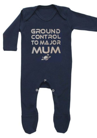 David Bowie Baby Sleepsuit, Space Oddity Ziggy Stardust Lyrics Slogan in Silver Print