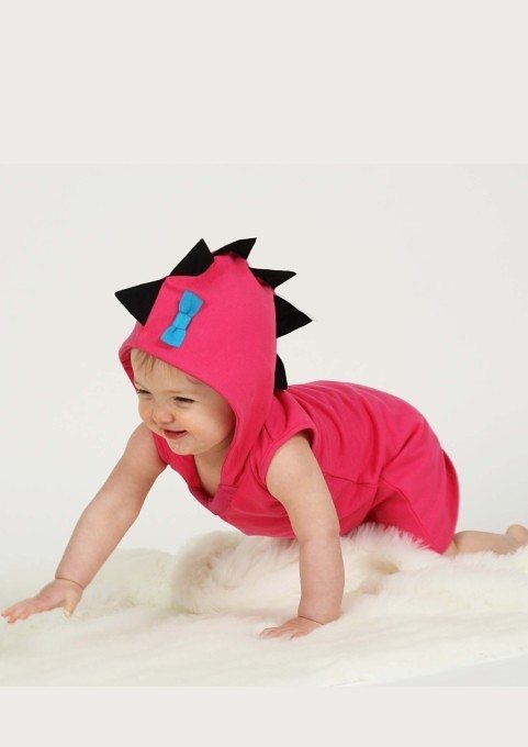 Girls Dinosaur Clothes, Pink Hooded Baby & Toddler Dress with Quirky Dino Spikes