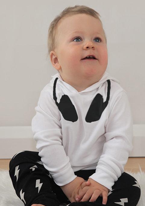 Dj Baby Clothes, Black & White Cool Kids Hoodie with DJ neck print
