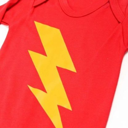 Lightning Bolt Flash Baby Grow Red Short sleeved