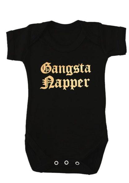 Gangsta Baby Grow, Black stylish baby grow with funny Gangster Rap Slogan