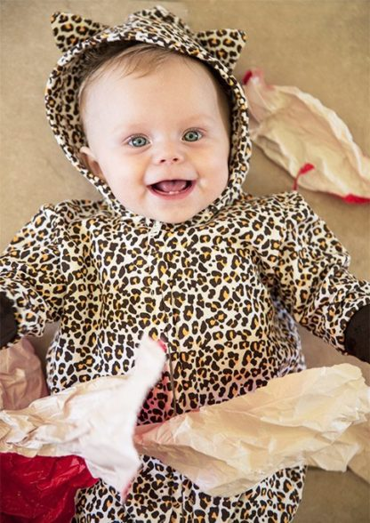Cute Leopard Print All In One / Leopard Baby Onesie / Romper With Hood & Ears