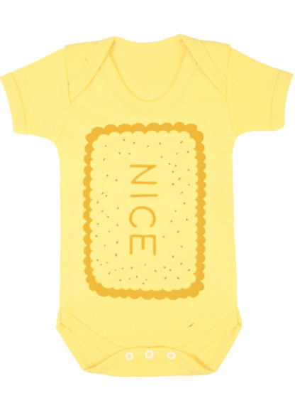 Adorable Unisex Baby Grow with novelty Nice biscuit print in yellow