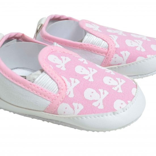 Cool baby girls shoes in pink with skull & crossbones print to upper