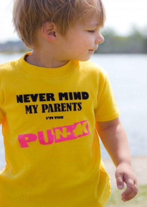 Punk kids top, Sex Pistols inspired baby & toddler t-shirt with Nevermind My Parents I'm The Punk Slogan Print