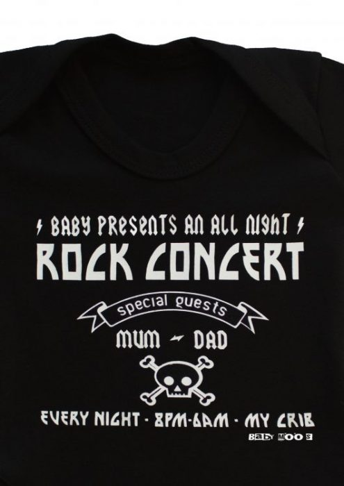 Rock baby grow, black baby grow with humorous rock concert print to front.