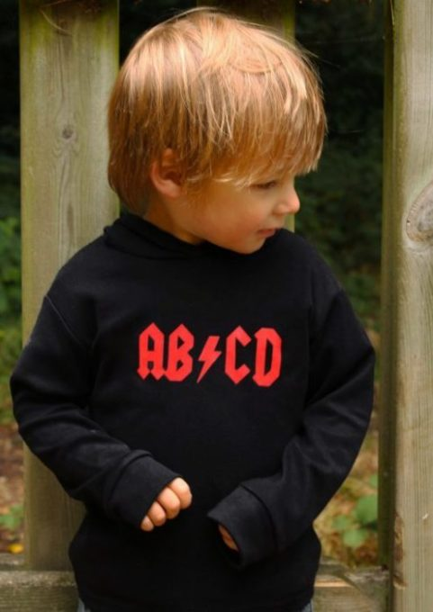 Rock Baby Toddler Hoodie with funny AB/CD Slogan