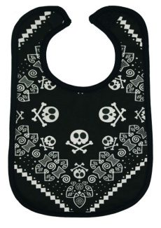 Rock Star Baby Bib, Toddler Black Baby Bib with Trendy Bandana Style Print