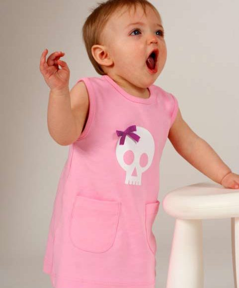 Baby girls dress with skull print & bow, pink alternative baby dress