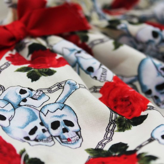 Skull & Roses Rockabilly Girls Dress Close Up of Fabric