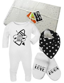 Tattoo Baby Gift Box, Alternative Baby Gift Idea with tattoo sleepsuit, tattoo style scratch mittens & black & white star print dribble bib