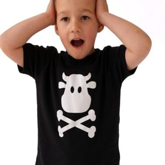 Unisex kids T-shirt in black with classic Baby Moo's Logo Print in Cow & Crossbones