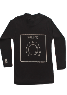 Black Quirky Kids Top with Spinal Tap inspired volume 11 silver print