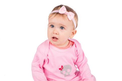 Skull Pink Baby Sleepsuit
