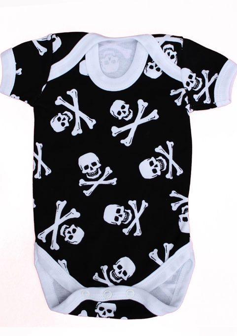 Alternative Baby Grow - Skull & Crossbones Baby Vest UK