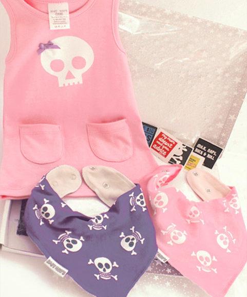 Baby Girls Gift Box Set, Girls Skull Dress & Bib Set