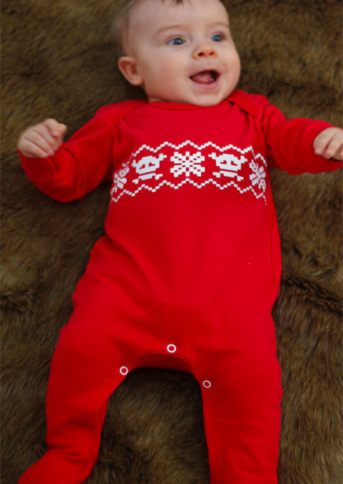 Fair isle baby sleepsuit, bright red baby sleepuit with white fairisle print.