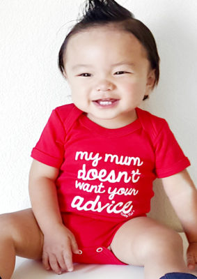 Funny Baby Grow in Red With Cheeky Fun Slogan in White, Short Sleeved Baby Bodysuit